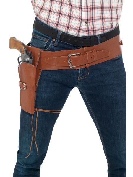 Adult Faux Leather Single Holster with Belt -  Brown